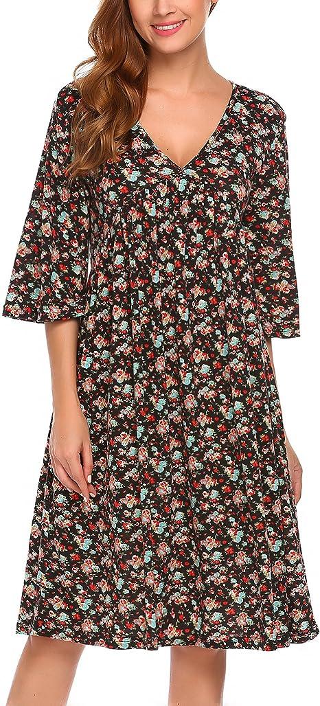 FUTURINO Damen Retro-Blumenmuster Kleid V-Ausschnitt Chiffon Kleid Langarm Blumen A Linie Blumen Elegant Vintage Cocktailkleid
