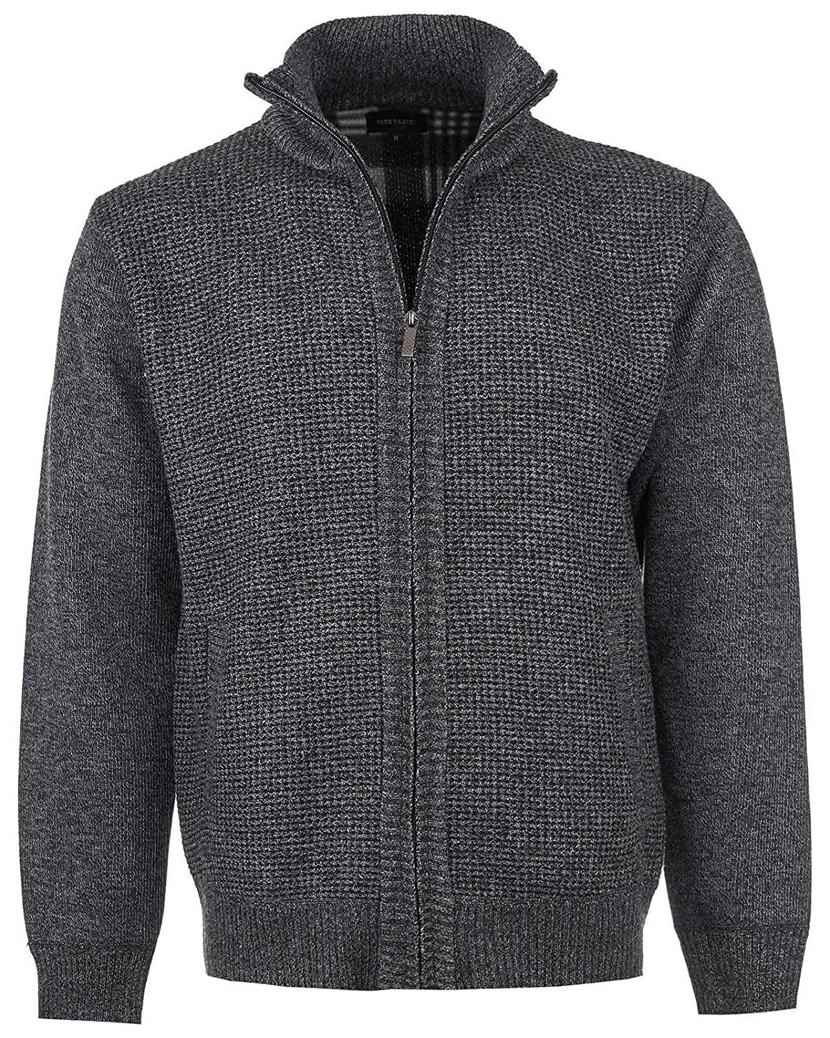 Mens Cardigan Front Zip Closure and Pockets with Inside Fleece Lined Jumper Knitted Jacket