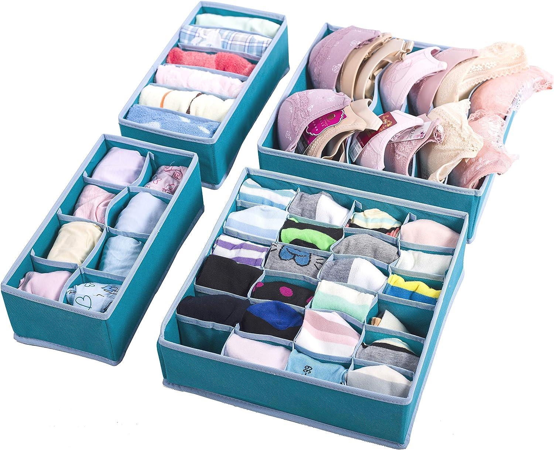Amborido Underwear Storage Drawer Organizer 4 Set Basket Bins Foldable Sturdy Divider Socks Bras Ties Small Objects Lake Blue