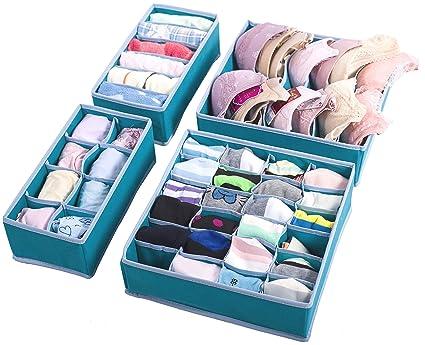 b4280ebd0b6d Amelitory Underwear Organizer Drawer Divider Foldable for Bras Panties  Socks 4 Set, Lake Blue