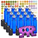 16 Pack MP Cobalt 10ml Stainless Steel Roller Bottles