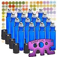 16 Pack MP Cobalt 10ml Stainless Steel Roller Bottles (Blue) - Free Roller Bottle Opener Key Tool & 192 Essential Oil Bottle Cap Sticker Labels