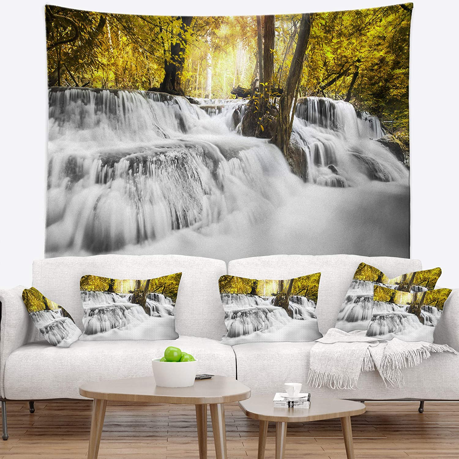 Designart Tap7139 80 68 Colorful Erawan Waterfall Landscape Photography Blanket Décor Art For Home And Office Wall Tapestry X Large X 68 In Created On Lightweight Polyester Fabric 80 In Home Kitchen Home Décor