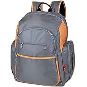 Fisher Price Backpack Diaper Bag - Fastfinder Colorblock in Grey/Orange