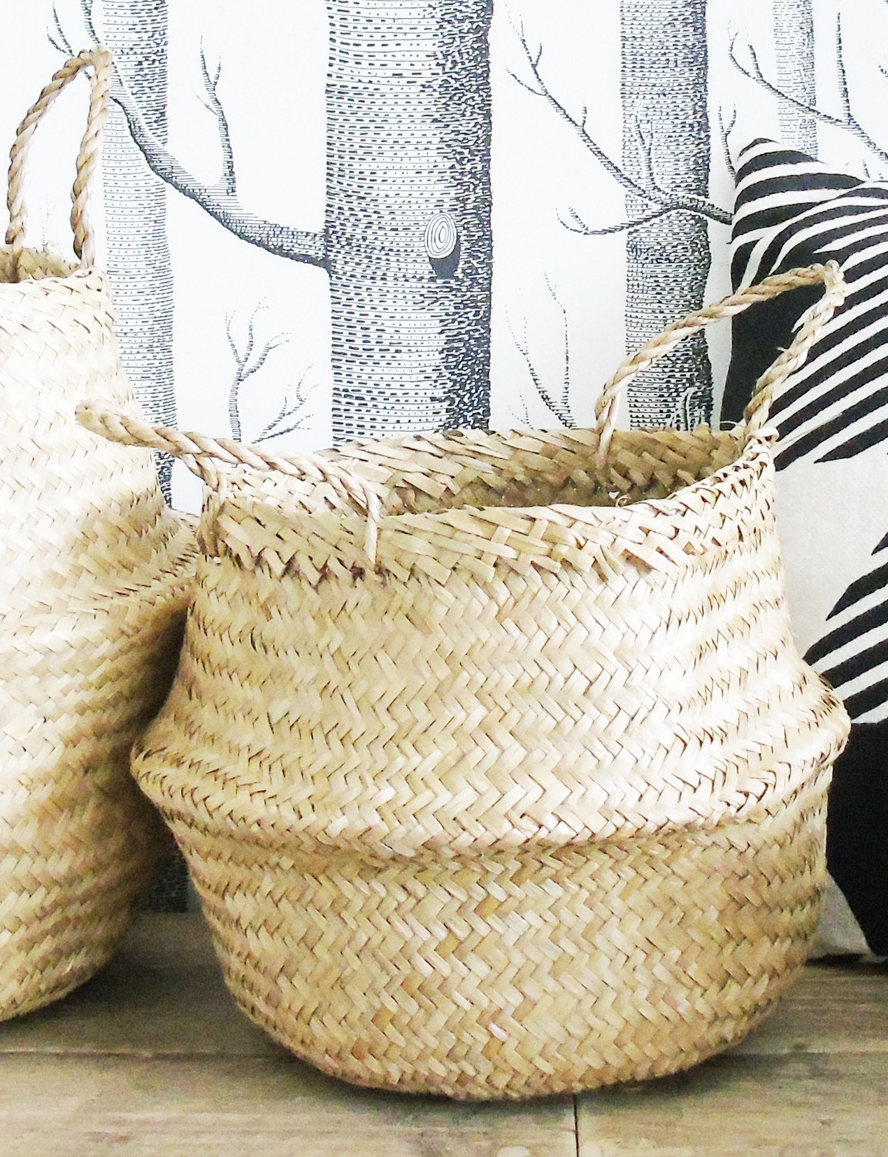 VNSea Natural Seagrass Belly Basket for Storage, Laundry, Picnic, Plant Pot Cover, and Woven Beach Bag (Medium)