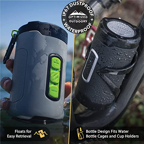 SCOSCHE BoomBottle H2O Rugged Waterproof Portable Wireless Bluetooth Speaker – 360-Degree 12 Watt 50mm Speaker with Subwoofer and Indoor Outdoor EQ Functions – Black Gold BTH2PGD