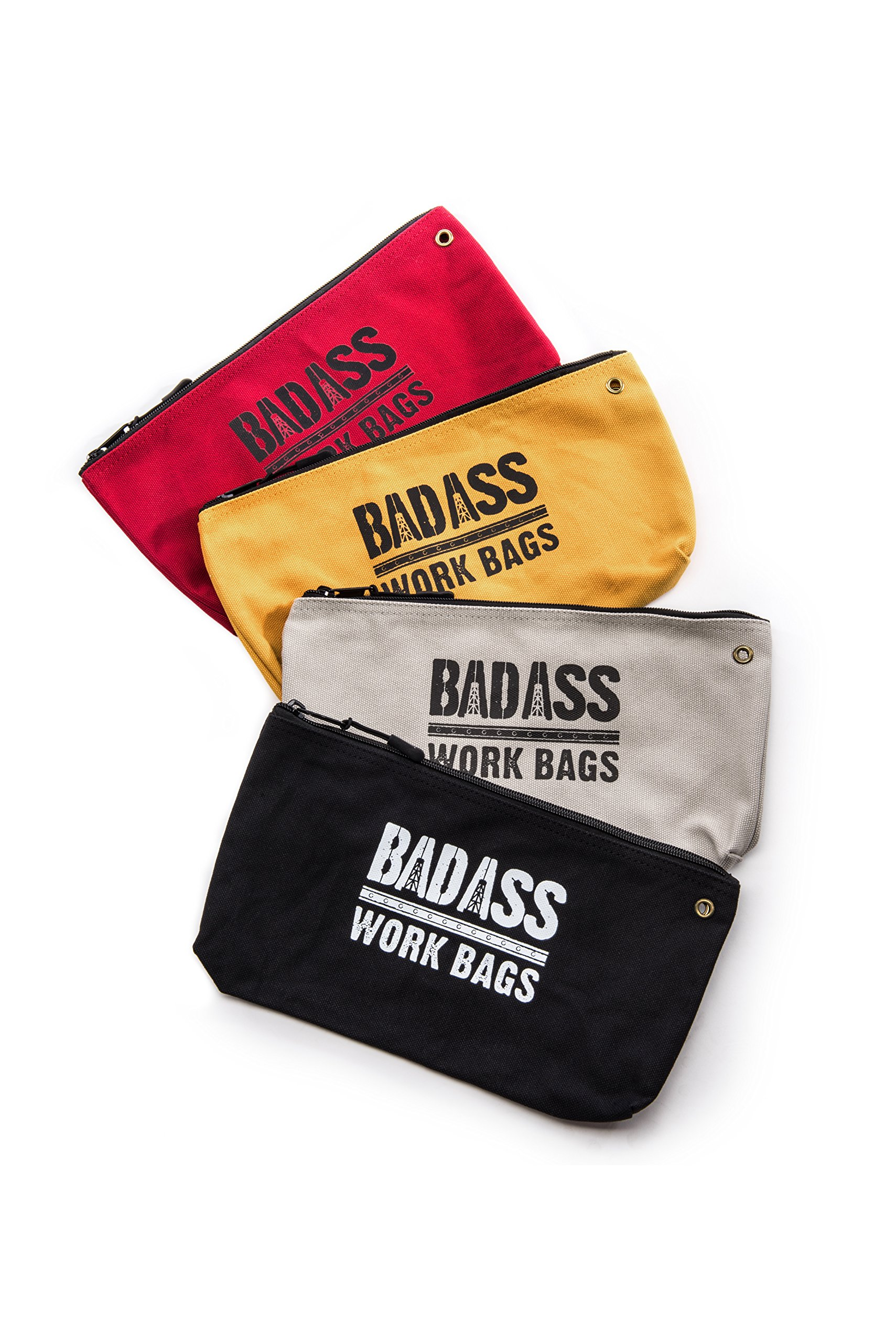 Bad Ass Work Gear   4-Pack of Heavy Duty 20 oz. Canvas Zipper Tool Bags in 4 colors   Toughest Utility Bag by Bad Ass Work Gear (Image #1)
