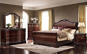 Amazon.com: McFerran Bella B188 Bedroom Set of 4 Piece Sleigh ...