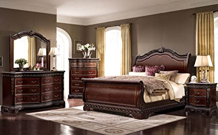 Amazon Com Mcferran Bella B188 Bedroom Set Of 4 Piece Sleigh
