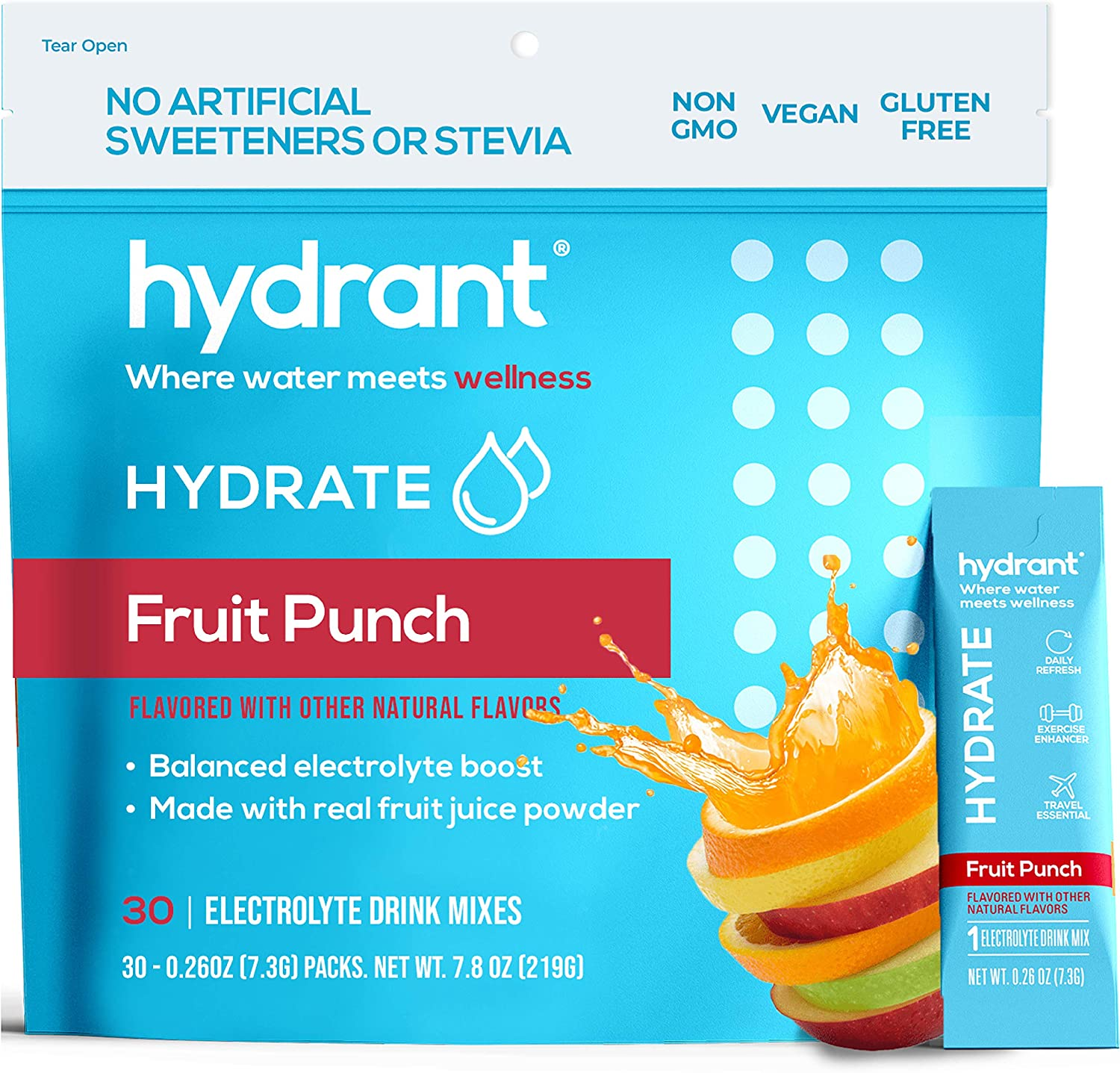 Hydrant Summer Hydrate Fruit Punch (30 Stick Packs) Electrolyte Powder Rapid Hydration Mix, Hydration Powder Packets Drink Mix, Helps Rehydrate Better Than Water