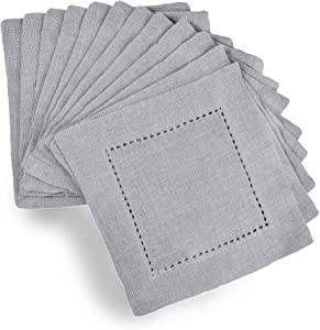 GLAMBURG 12-Pack Linen Cotton Hemstitched Cocktail Napkins 6x6 with Mitered Corners, Soft & Comfortable, Cloth Napkin Coasters, Hemstitched Beverage Napkins - Light Grey