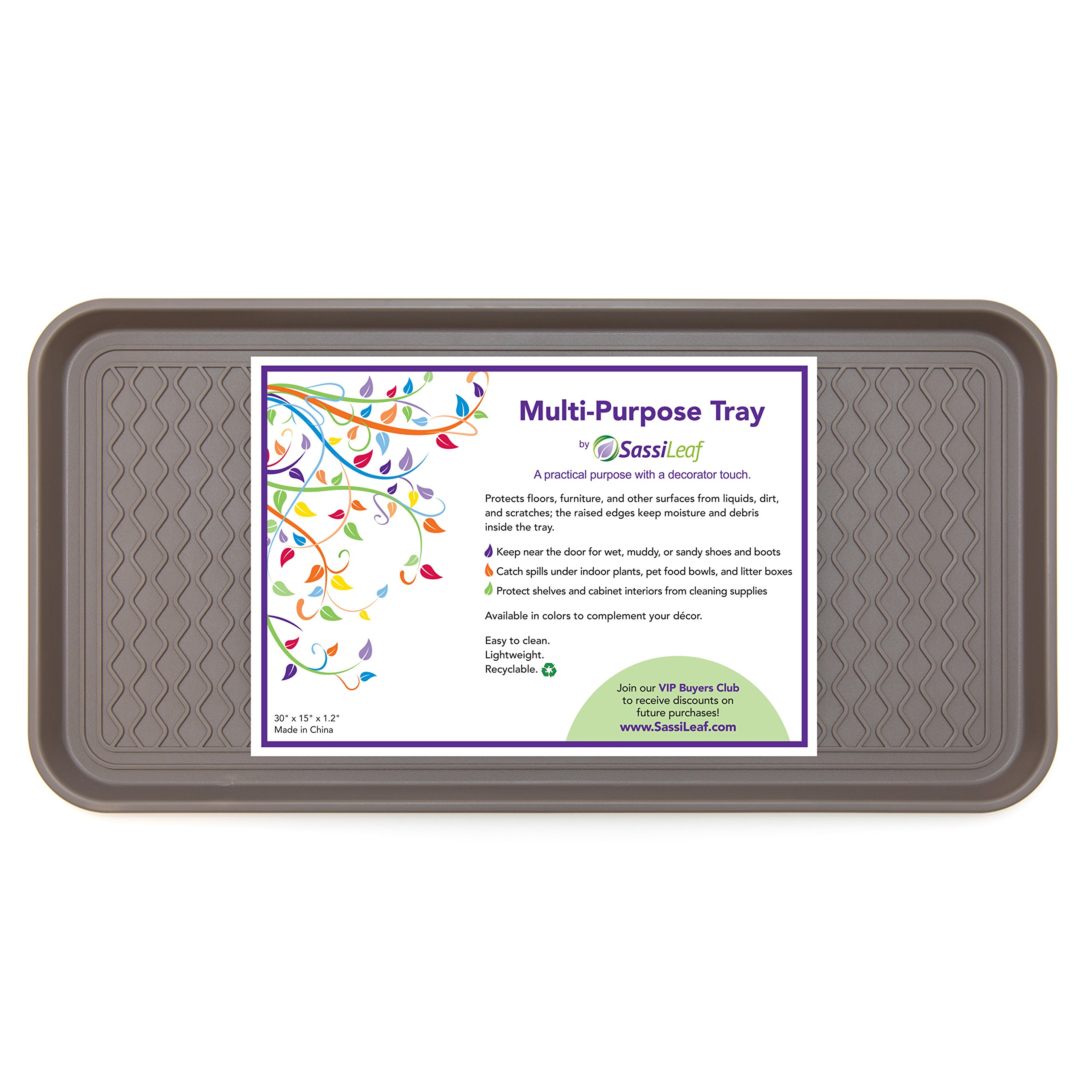 SassiLeaf Multi-Purpose Tray in Decorator Colors - 30'' L x 15'' W x 1.20'' H (Slate Gray Set of 2)