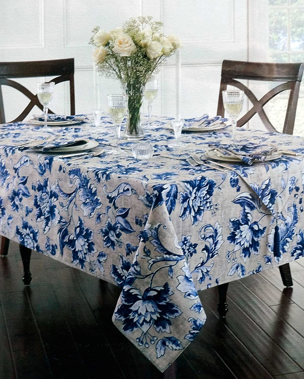 Ralph Lauren Table Linens Part - 18: Amazon.com: Waterford Linens Fabric Tablecloth Oblong Rectangular Blue And  White Leaf Floral Pattern On Beige 60 X 84: Home U0026 Kitchen