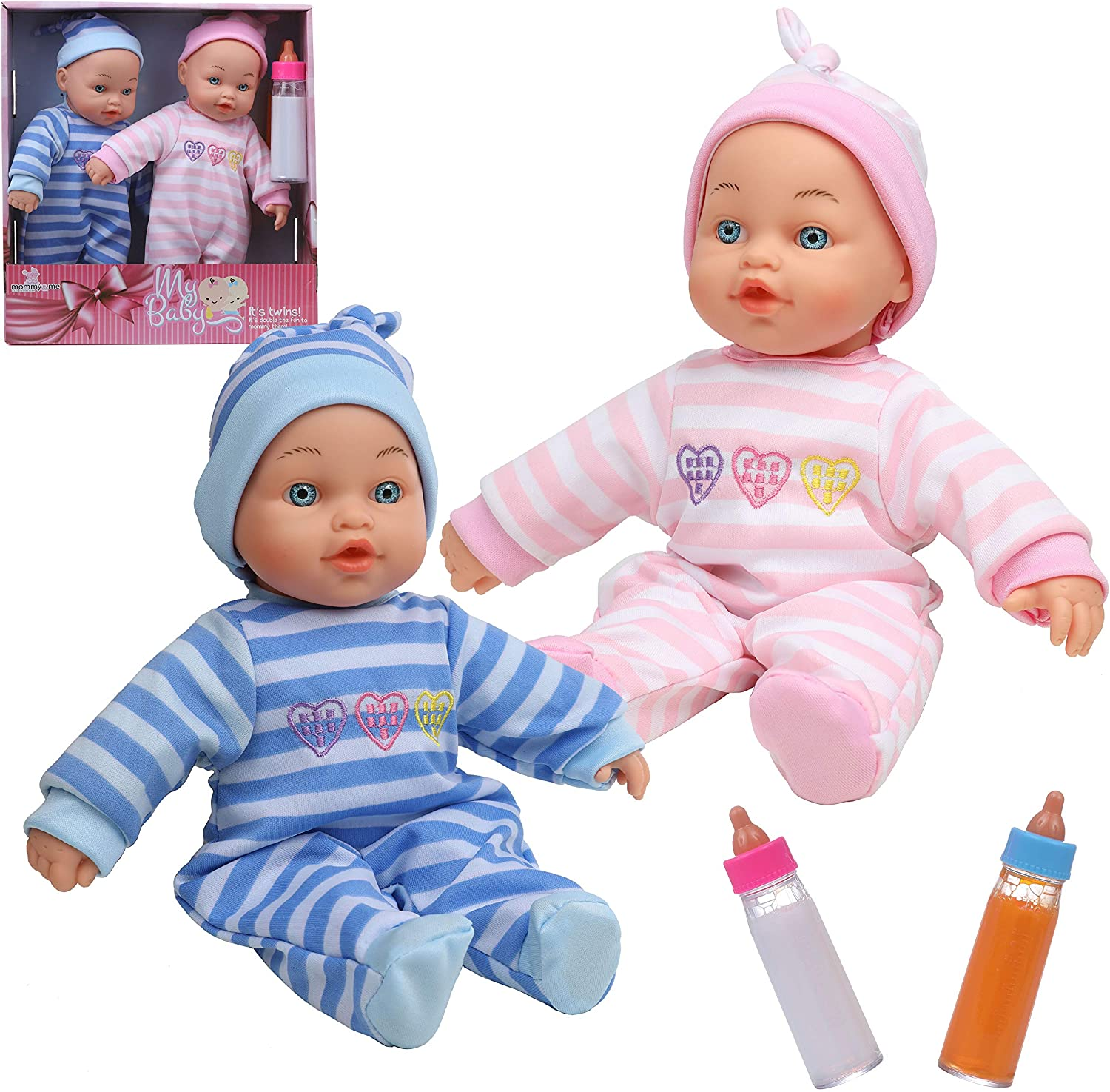 """Mommy & Me 12"""" Twin Baby Dolls Boy and Girl with Matching Rompers and Hats and Magic Disappearing Milk and Juice Bottles Feeding Accessories"""