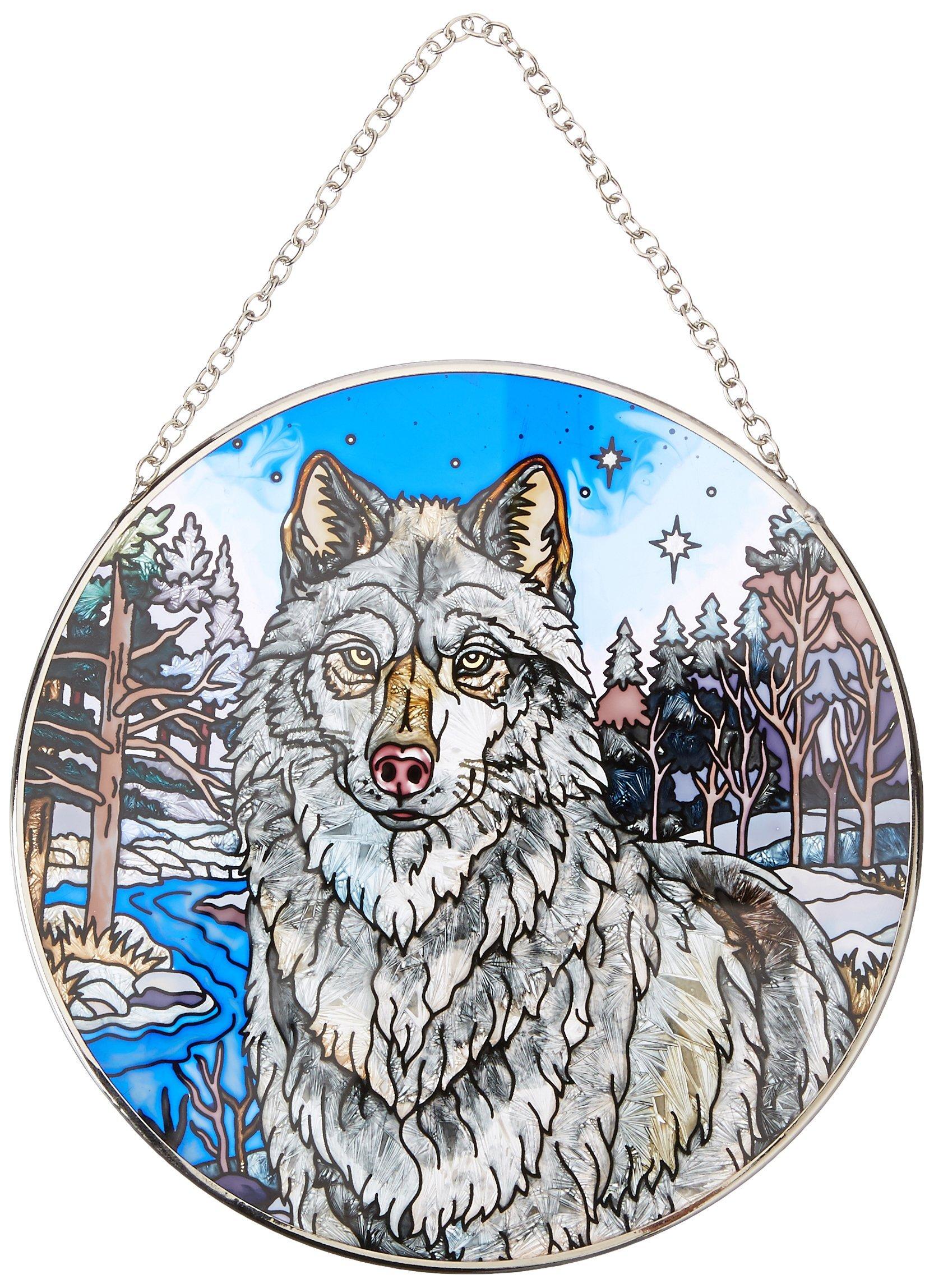 Amia Handpainted Glass Wolf Suncatcher, 6-1/2-Inch
