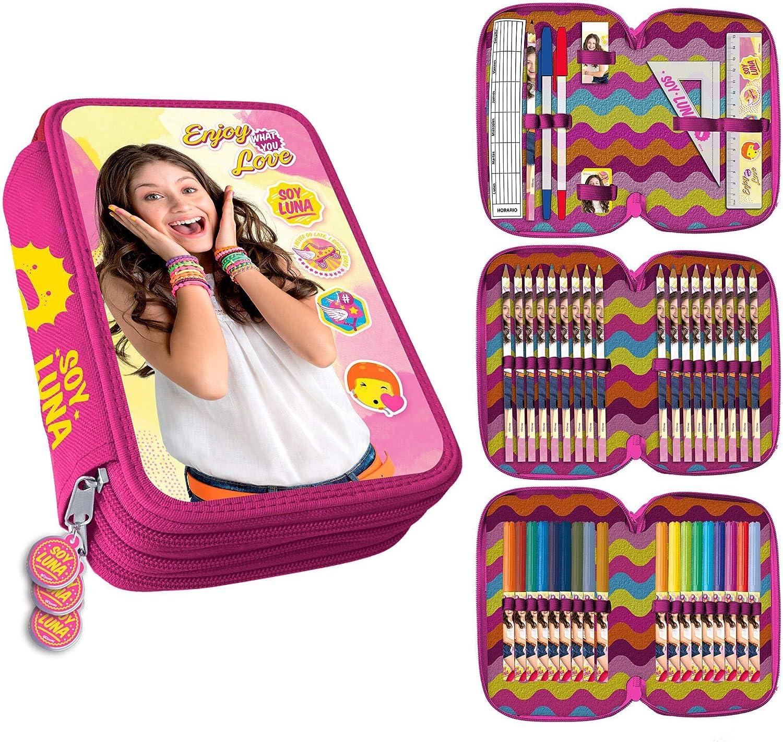 MovilCom® - Estuche Escolar 3 Cremalleras plumier con Material | Soy Luna | Pulseras: Amazon.es: Juguetes y juegos