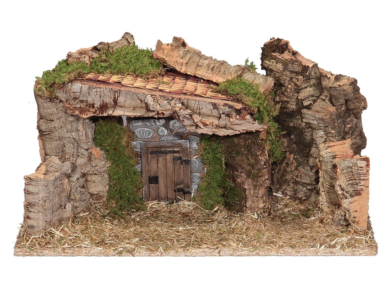BERTONI leer Holz Krippe Hütte mit Tür, Holz, Mehrfarbig, 42 x 18 x 24 cm