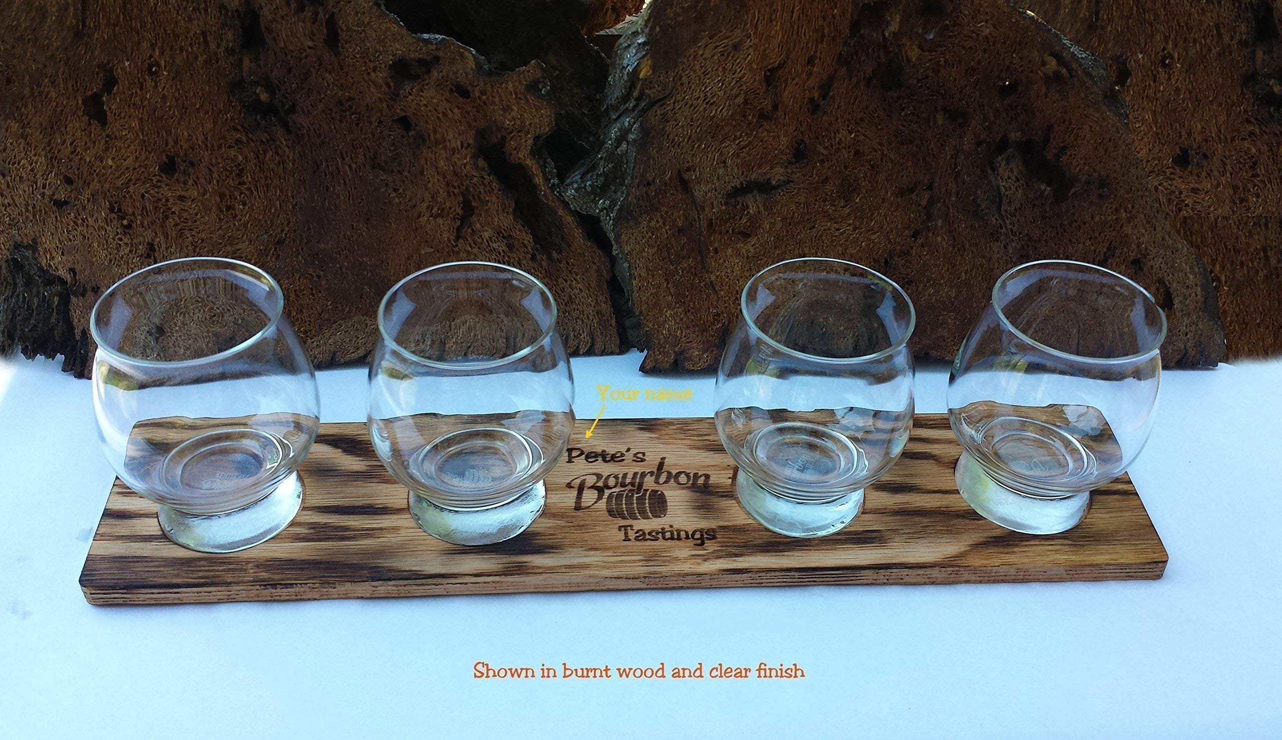 Laser Engraved Personalized Oak Bourbon Tasting Tray with glasses by Precision Wood Carving (Image #3)