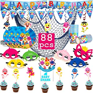 Baby Shark Party Supplies for Baby, 88 pcs Preassembled Birthday Decorations:1 Blue Fish Net, 1 Big Cake Topper, 24 Cupcake Toppers, 20 Paper Plates, 20 Paper Cups, 2 Happy Birthday Banner, 12 Shark Masks, 5 Swirl Decorations, Shark Theme Birthday Party Supplies for Kids