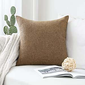 Home Brilliant Decoration Solid Linen Euro Throw Pillowcase Cushion Cover for Living Room, 20x20(50cm), Brown