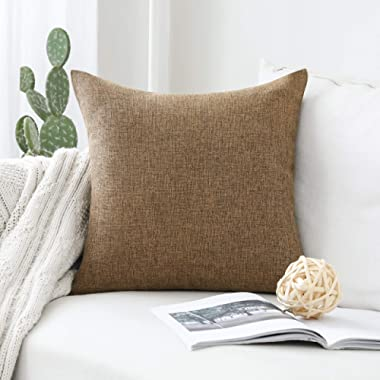 HOME BRILLIANT Decoration Solid Linen Euro Throw Pillowcase Cushion Cover for Living Room, 24x24, Brown