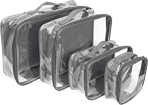 Clear Travel Packing Cubes Set of 4 for Carry On (XS, Small, Medium, Large) / See-Through Clothes Organizer Dividers for Suitcase/Transparent Vinyl PVC Cell Pouches for Luggage (Gray)