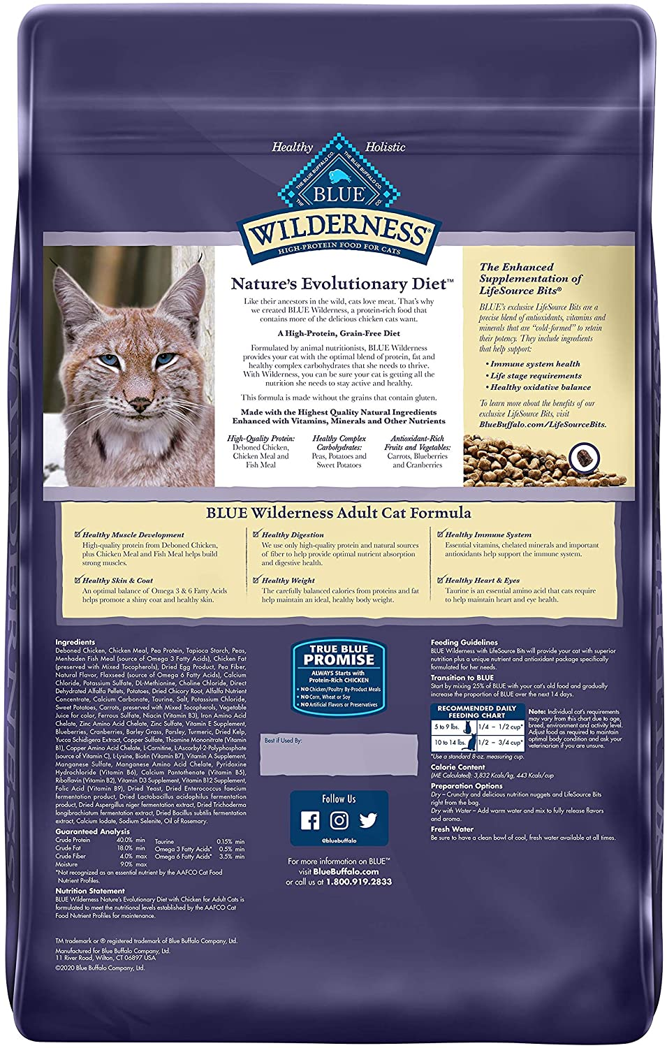 Blue Buffalo Wilderness High Protein, Natural Adult Dry Cat Food, Chicken 12-lb : Dry Pet Food : Pet Supplies