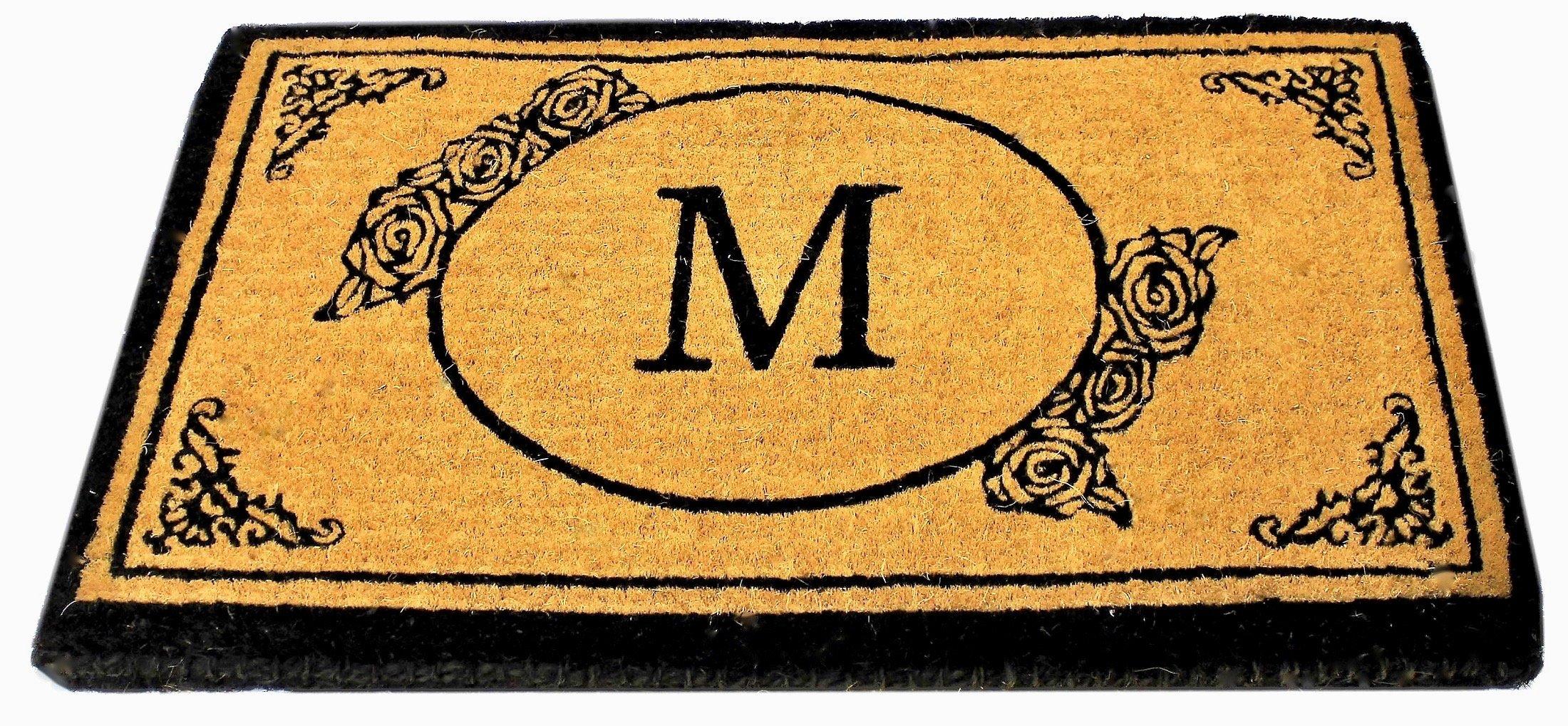 Envelor Home and Garden Handwoven, Customized Monogram Extra Thick Doormat, Outdoor Rugs Durable Coir, Outdoor Doormat, Welcome Mat Entryway Door Mat for Patio, Coir Doormat (30 x 48, Monogram M)