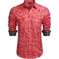 Coofandy Men's Hipster Hip Hop Shirt Long Sleeve Relaxed Fit Paisley Printed Casual Button Down Shirt