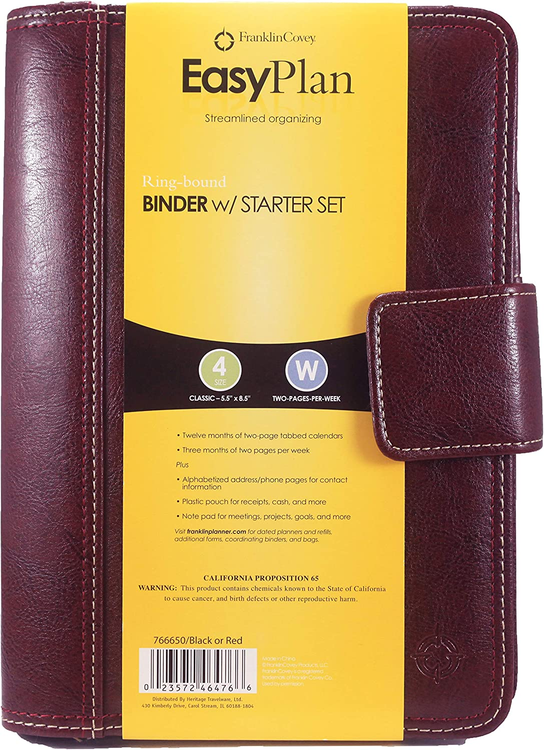 Franklin Covey Classic Leather Binder w// Starter Set 5.5 x 8.5 Two-Pages-Per-Week