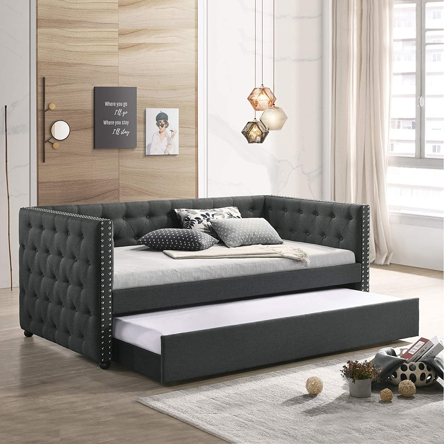 Daybed with A Trundle, HABITRIO Solid Wood Structure Gray Fabric Upholstered Twin Size Day Bed Frame w/Twin Size Roll-Out Trundle, No Box Spring Needed, Furniture for Bedroom, Living Room, Guest Room