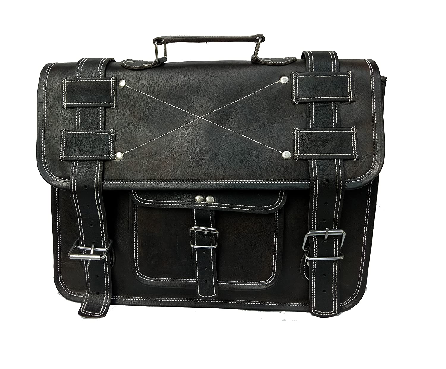 Incredible Antique Arts 15 inch Black Leather Messenger Bag Black Laptop Bag Messenger Bag Satchel Bag Padded Messenger Bag Black Leather Laptop Bag Use for Laptop iPad McBook Tablet etc
