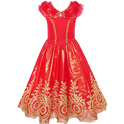 Sunny Fashion Girls Dress Red Princess Costume Maxi Fancy Wedding Pageant: Clothing