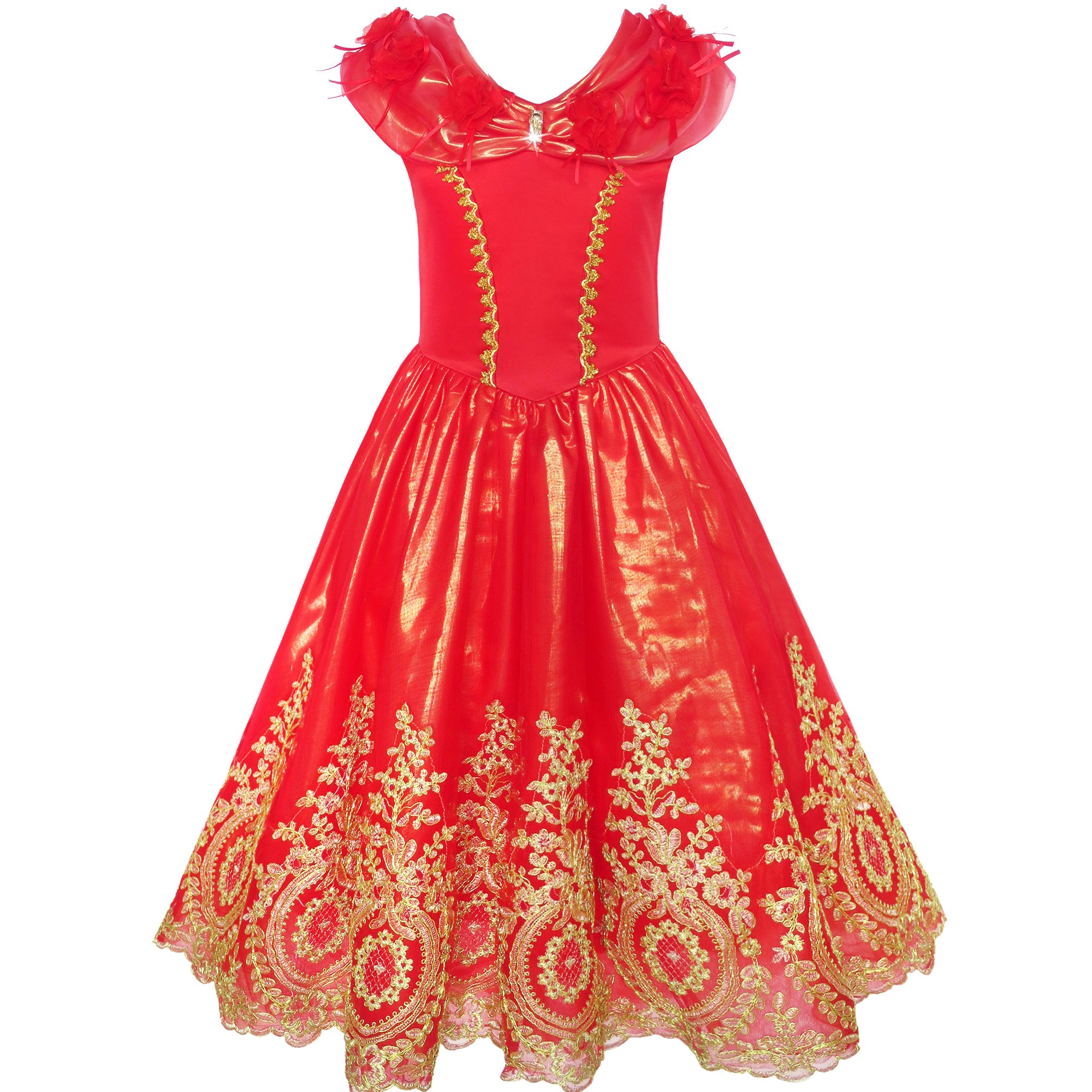 Girls Dress Red Princess Costume Maxi Fancy Wedding Pageant Size 8