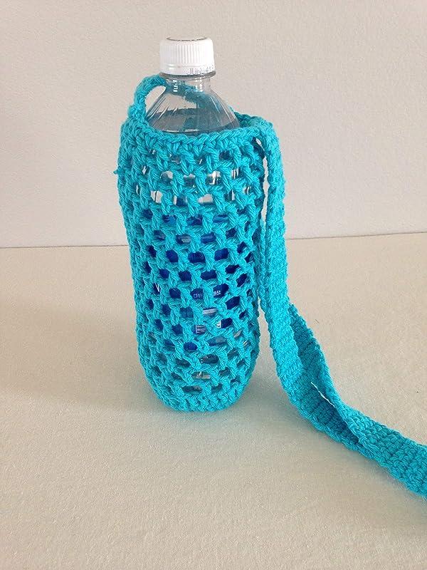 """Handmade crochet cover baby doll bottle blue 4/"""""""