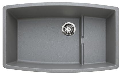 Blanco 440067 Performa Single Basin Undermount Granite Kitchen Sink,  Metallic Grey