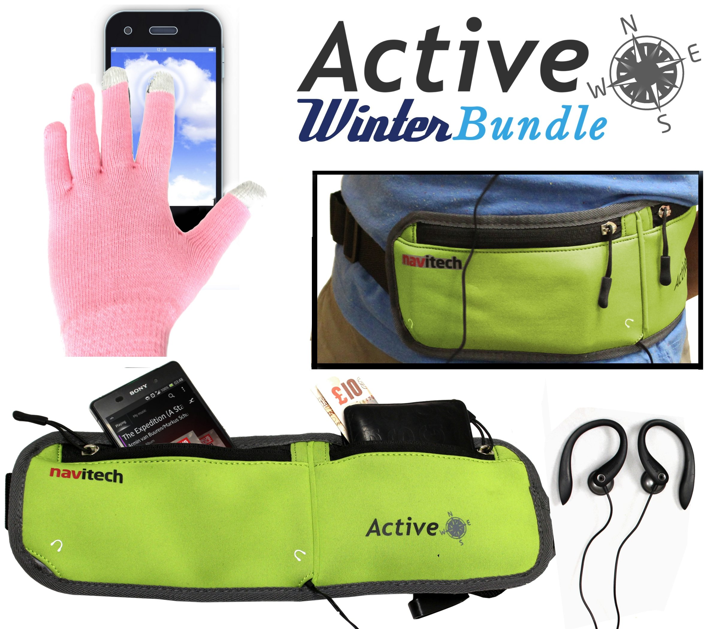 Navitech Active Bundle Including Green Running / Jogging Sports Waistband & Pink Touchscreen Gloves For The iPhone 5 / 5c / 5s