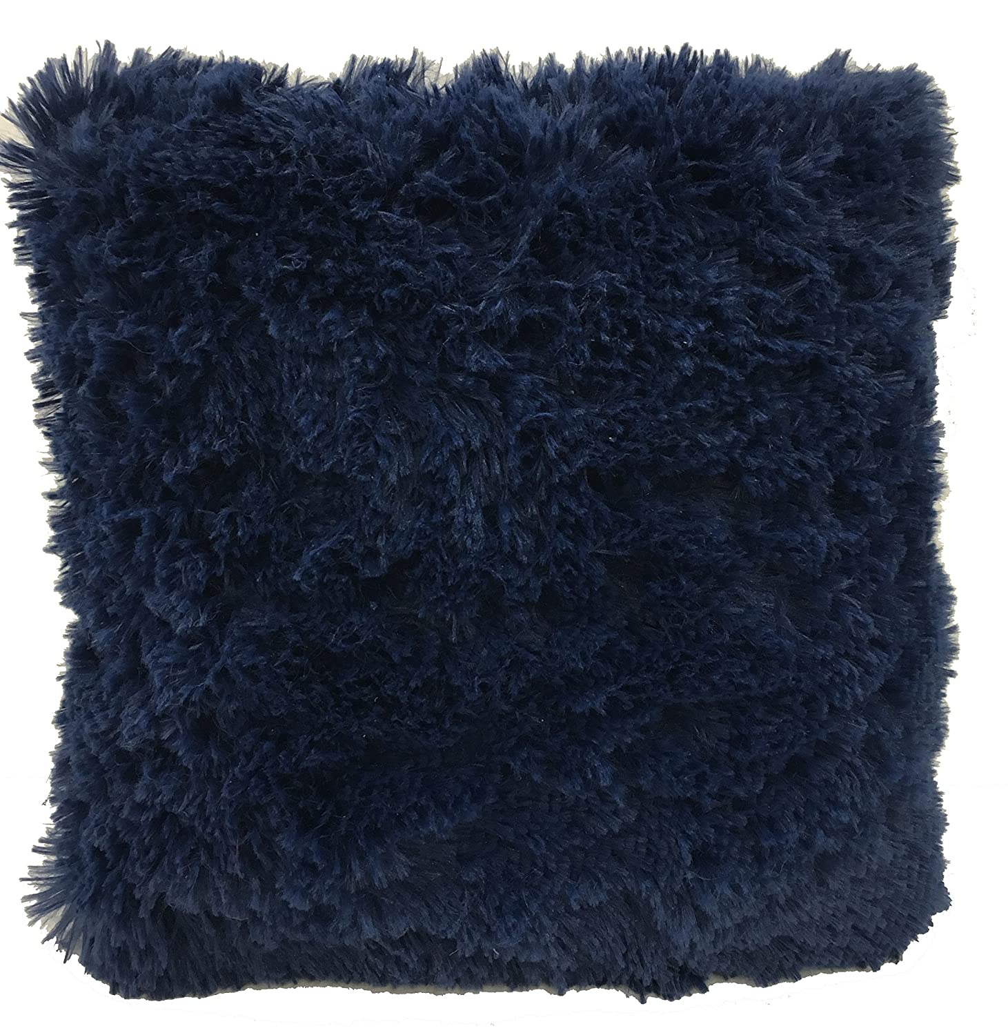 "LuxuryDiscounts Super Soft Faux Fur Decorative Filled Throw Pillow Cushion Available in Multiple Colors (16"" x 16"", Navy Blue)"