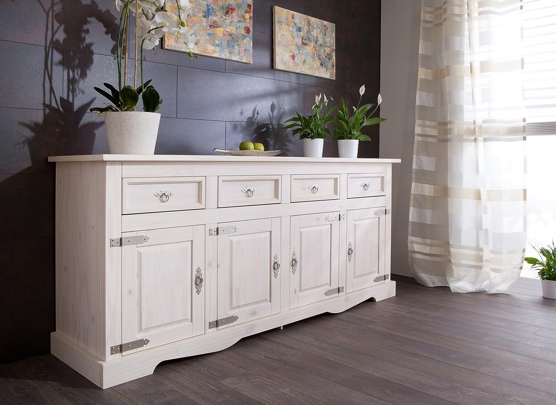 Sideboard in weiß lasiert seidenmatt lackiert aus massiver Kiefer; Maße (B/H/T) in cm: 200 x 88 x 51