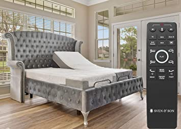 Wireless Zero Gravity Head /& Foot Articulation Interactive Dual Massage Sven /& Son Split King Adjustable Bed Base Frame 5 Minute Assembly Classic Split King USB Ports