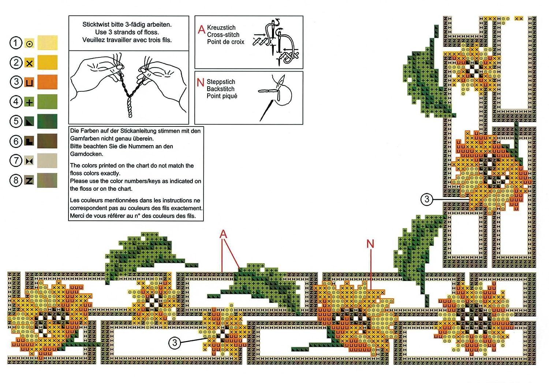 GARTEN Kreuzstich vorgezeichnet aus 100/% Baumwolle Mitteldecke 80 x 80 zum Selbersticken Kamaca Stickpackung BLUMEN