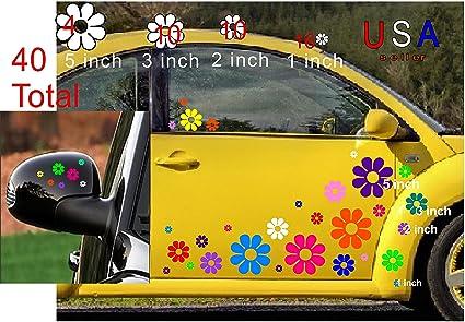 DeanSigns4u 40 Car Flowers Daisy Bright Rainbow Set Sticker Decals from USA  VW Boat Golf Cart Kayak USA