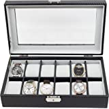 12 Piece Black Carbon Fiber Watch Display Case Men's Watch Box Collection Jewelry Storage Glass Top