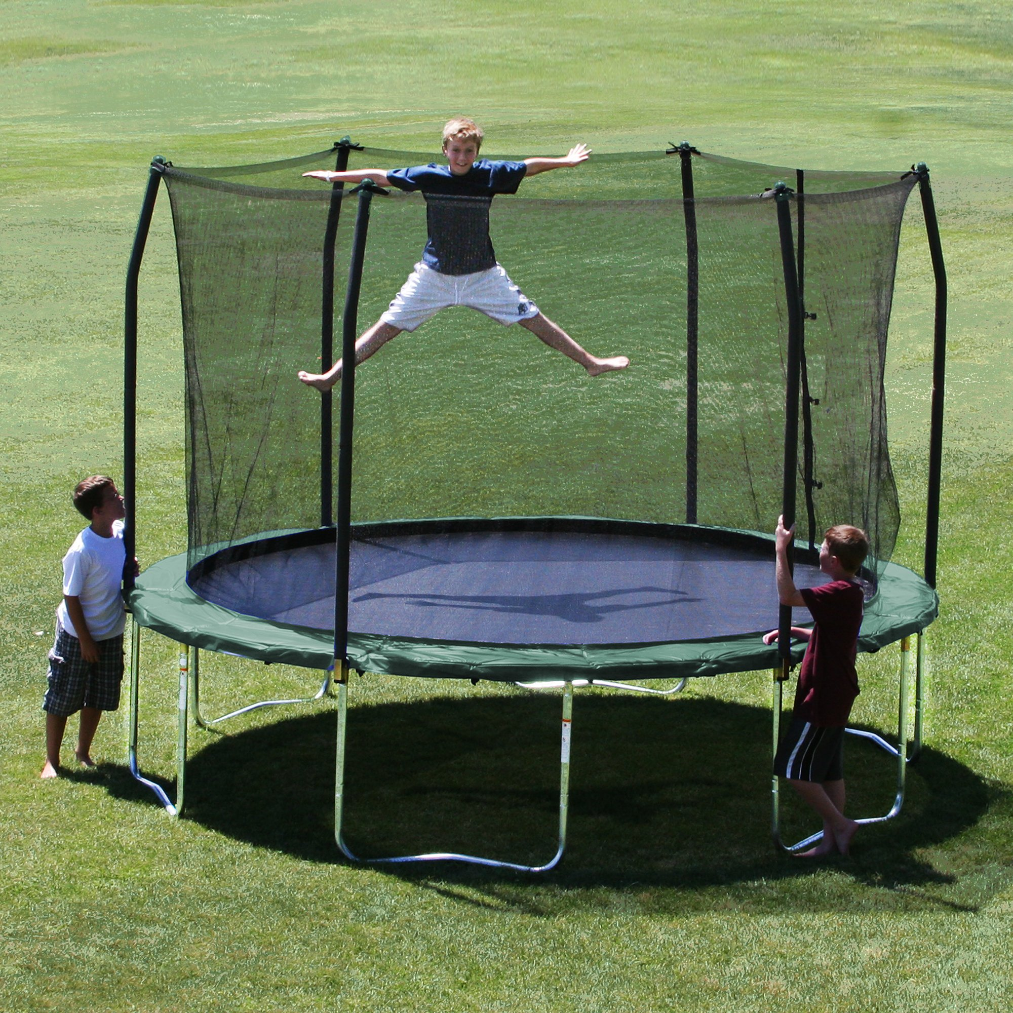 Skywalker 12-Feet Round Trampoline and Enclosure Combo with Spring Pad, Green by Skywalker Trampolines (Image #2)