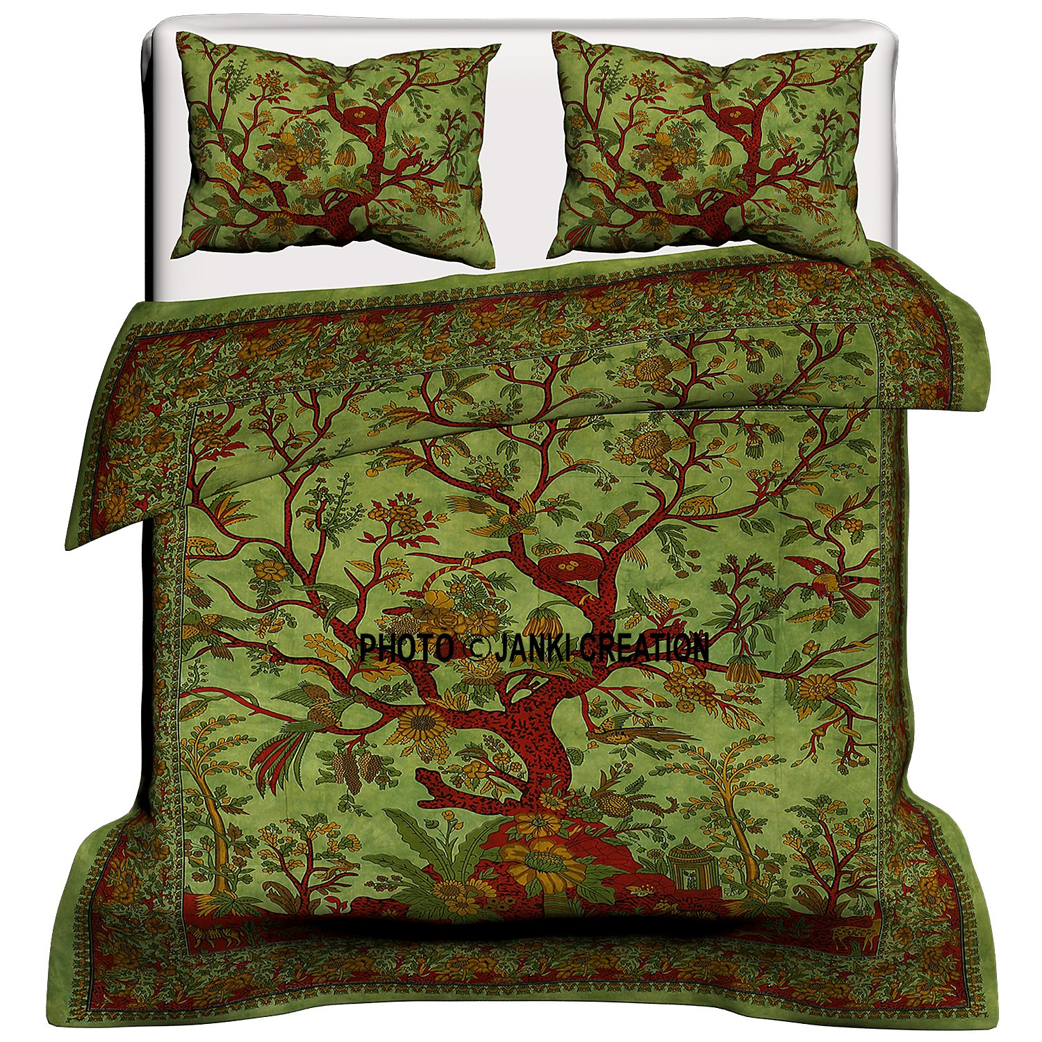 Indian Tree Of Life Cotton Queen Duvet Cover Quilt Cover Bohemian Hippie Bedspread Quilt Handmade Duvet Cover With Pillow Cover Green 80x82 Inches Bohemian Bed Set Boho Duvet Cover With Pillowcase Buy