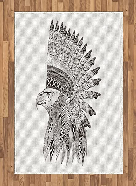 Amazoncom Lunarable Tattoo Area Rug Warrior Fierce Eagle Feather