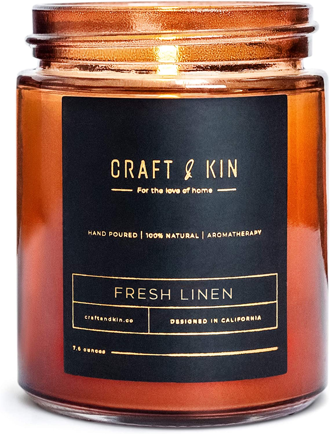 Craft & Kin Fresh Linen Candle, Premium Scented Candles for Men & Women | All-Natural Soy Candles, Rustic Home Decor Scented Candles | Non-Toxic, Ultra Clean Burn Aromatherapy Amber Jar Candles