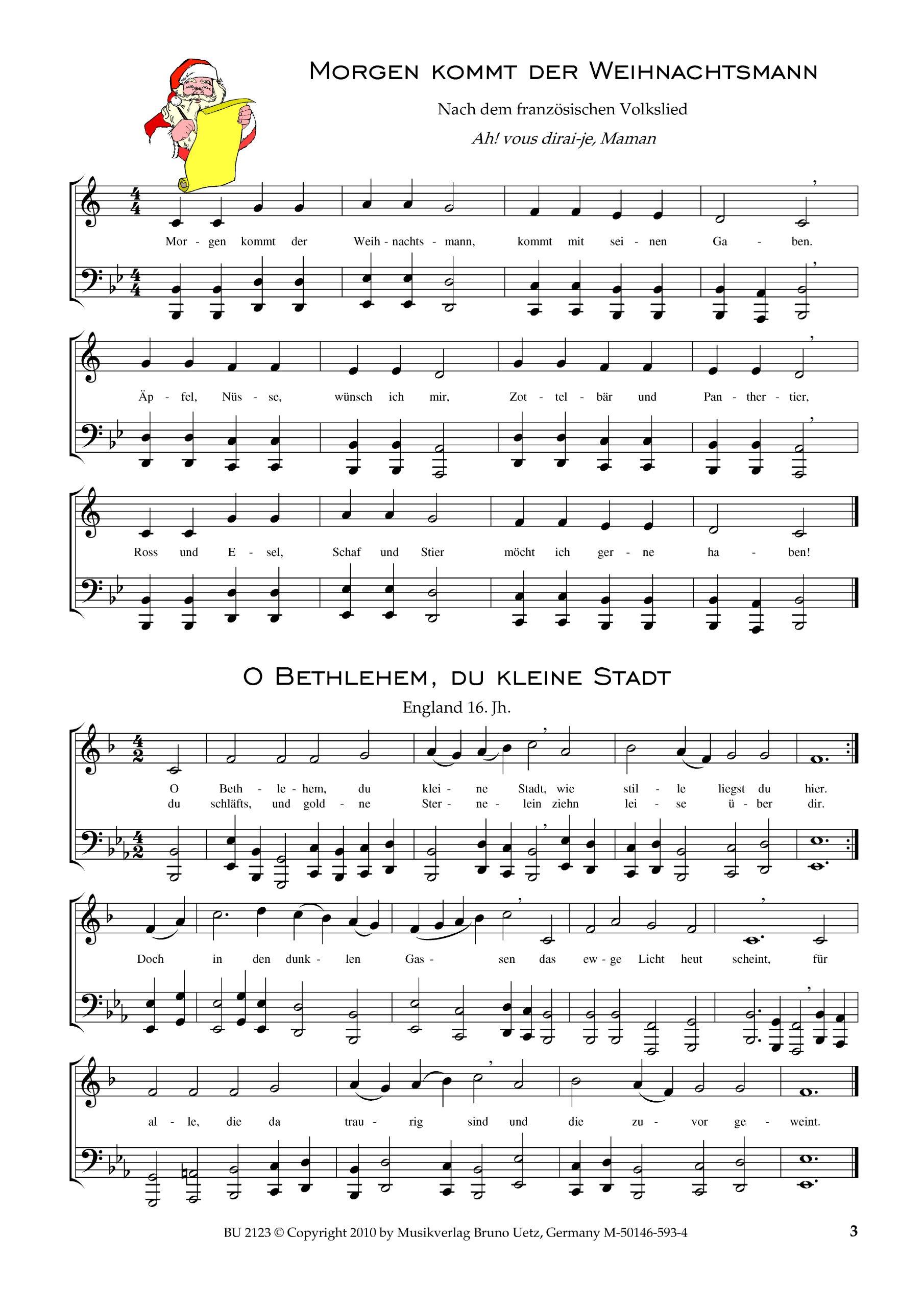 50 Weihnachtslieder für Trompete in B und Tuba Bariton, Posaune / 50 ...