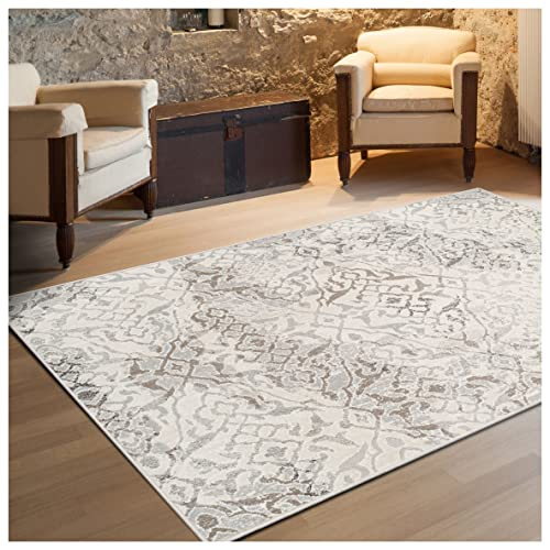 Superior 8mm Pile Height with Jute Backing, Vintage Distressed Geometric Pattern, Fashionable and Affordable Woven Rugs, 5 x 8 Rug, Beige