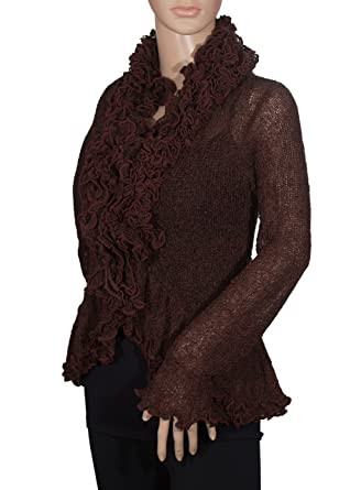 d3ec312db1c Van Klee Tissue Knit Ruffled Tie Front Dressy Cardigan Sweater (Black  Cherry Black)